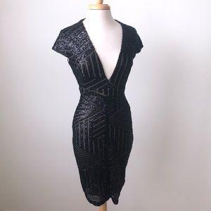 Hot Miami Styles Black Sequin Dress